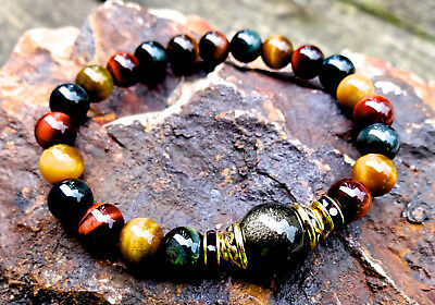 Gold obsidian and tiger eye bracelet w/ gold plated Celtic knot for protection