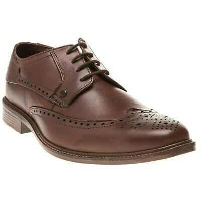 New Mens Lambretta Tan Harvey Brogue Leather Shoes Lace Up