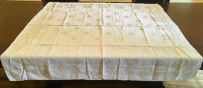 """Vintage 1960's Linen Tablecloth, 49"""" Square, Ivory with Ivory & Yellow Flowers"""
