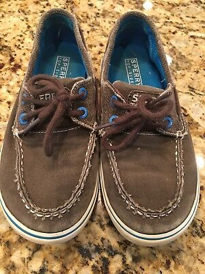 c963e9ad SPERRY TOP-SIDER HALYARD GREY CANVAS BOYS BOAT SHOES SIZE US 1 M. Great