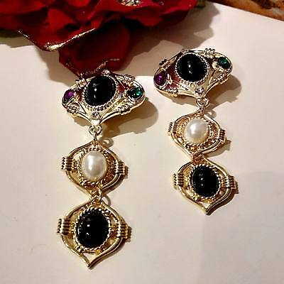 Earrings Style Victorian 3 Segments with Stones Precious Red Green Black