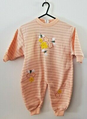 Girls Romper Bodysuit - Size 1 - Brand New - Peach Color with Flowers