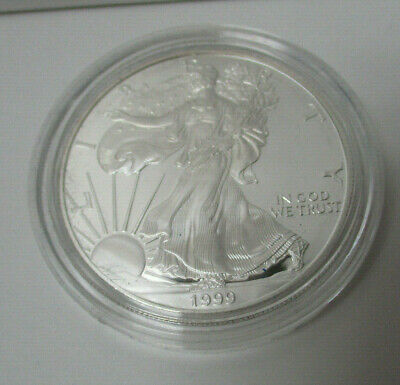 Us 1999 Proof Silver American Eagle Dollar In Original Government Blue Box