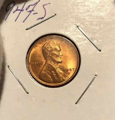 1947-S Lincoln Wheat Cent! Choice Bu! Nice Red Piece!
