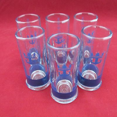 """Set of 6 Shooters Shot Glass France Clear and Blue 3"""" Tall"""