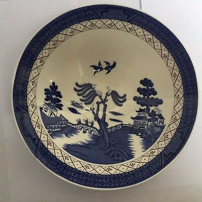"""Royal Doulton - Booths Real Old Willow, 8 3/4"""" Footed Vegetable Bowl 2nd Quality"""