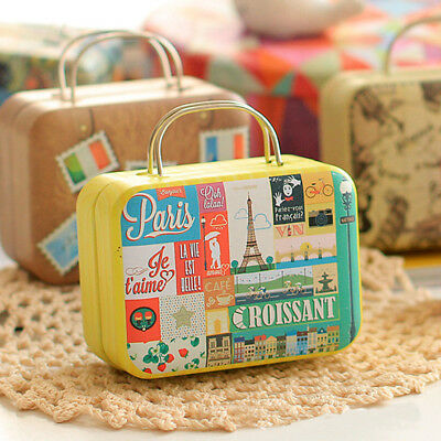 Retro Mini Rolling Travel Suitcase Box Wedding Favors Party Reception Candy New
