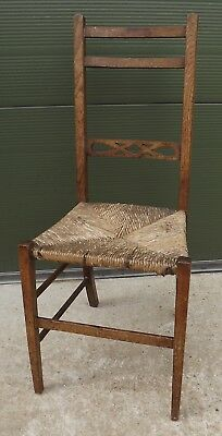 Antique Edwardian Oak Arts & Crafts Rush-Seated Single Bedroom Chair