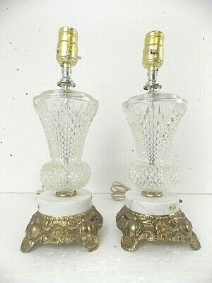 L&L WMC Molded Glass/Marble/Brass Matching Boudoir/Bedside Lamps Made Italy EUC