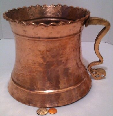 Vintage Copper and Brass Heavy Duty Hammered Pitcher, Vase, Container