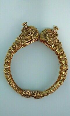 Indian Rajasthani Double Headed Peacock Gold Plated Bangle Openable Size 2.8