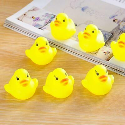 10pcs Baby Bathing Bath Tub Toys Mini Rubber Squeaky Float Duck Yellow JL