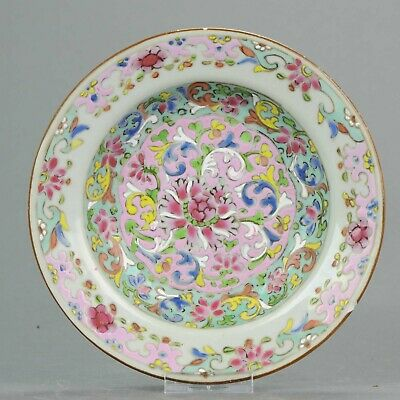 Antique 18th c  Chinese Porcelain Pre Bencharong Nyonya Famille Rose Plate Thai