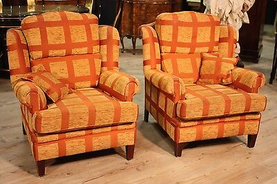 Pair of Armchairs in Fabric Orange Gingham Check Antique Style 80s/90s Chairs