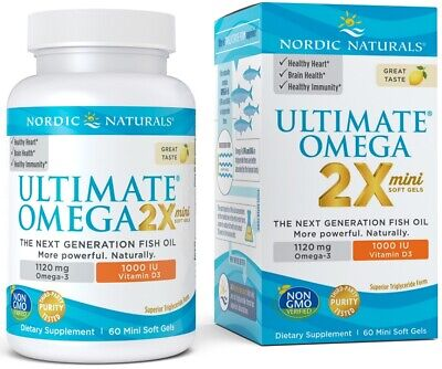 (60g, 63,17 EUR/100g) Nordic Naturals Ultimate Omega 2X Mini with Vitamin D3, 1