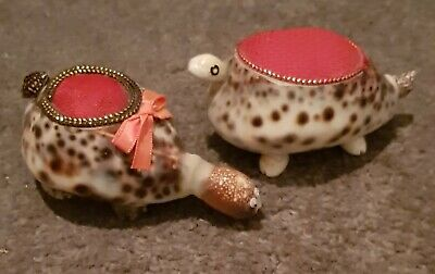 VINTAGE PAIR of COWRIE SHELL TURTLE PIN CUSHIONS (2 OFF) COLLECTABLE PAIR