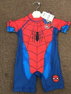 Bnwt Boys  Age 9-12 Months Swim Sun Suit Next Blue/red Spider-Man Design