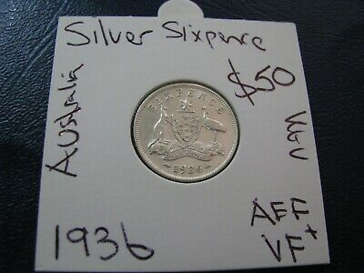 Australia 1936 Silver Sixpence Coin Rare Key Date About Extra Fine AUS #A53
