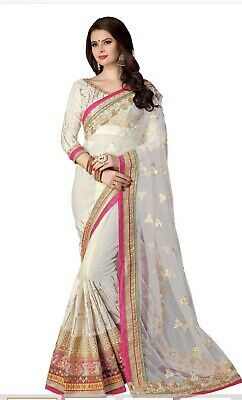 Beautiful Embroidered Half And Half Style  Saree With Blouse Piece Attached .