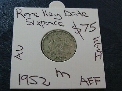 Australia 1952 Silver Sixpence Coin About Extra Fine KGVI   #A59