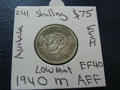 Australia 1940 Silver Shilling Coin Low Mintage rare Key Date About EF    #A67