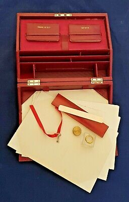 Antique Edwardian Red Faux Morocco Writing Box Case Working Lock And Key