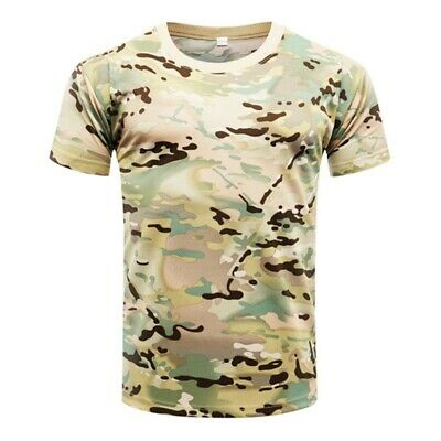 0afd3af55a0f8 Men Camo T-Shirt Military Blouse Short Sleeve Tee Army Camouflage Tops M-3XL