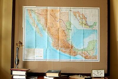 Map of Mexico Vintage Original Large Folding Paper Map Old Geography School Map