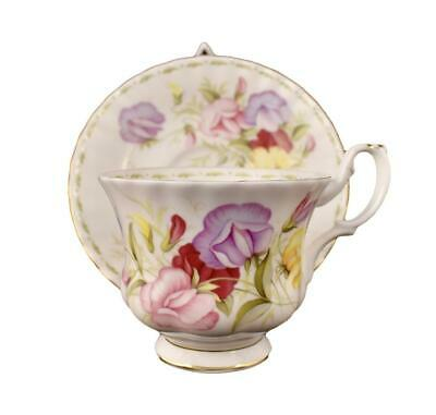 "Royal Albert Flower Of The Month Series ""sweet Pea"" Teacup And Saucer"