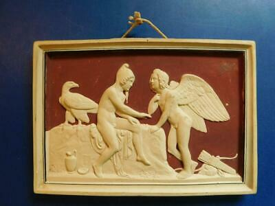 Antique Swedish Bisque Cameo Effect Ceramic Plaque L Hjorth Eneret