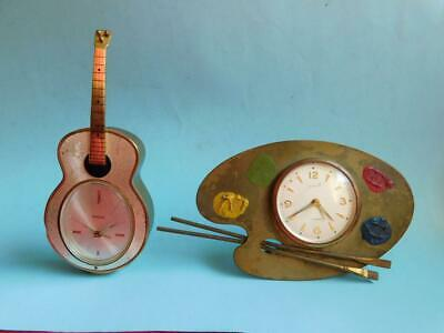 2x Quality Vintage Europa Artists Palette & Swiza Musical Guitar Clocks