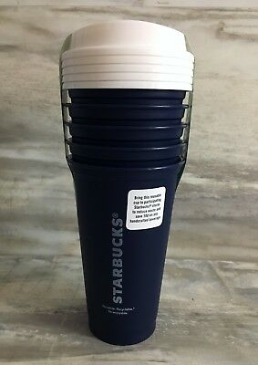 NIP Starbucks Reusable Navy Blue Tumblers Collection 16-oz 5-Pack
