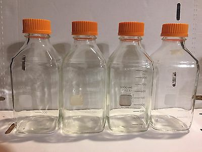 Corning Pyrex Square Glass Bottle, 1L (1000 mL), No1396, made in Germany, 4/pk