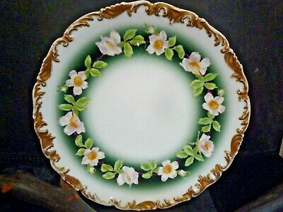 """Antique T&V Limoge pink dogwood 8.5"""" plate;heavy gilding on edges;hand painted"""