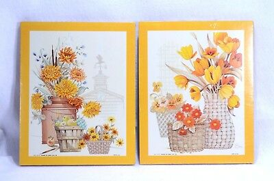 KITCH LITHO WALL PLAQUES WALL HANGINGS Yellow Orange White Flowers 10 x 8 NOS