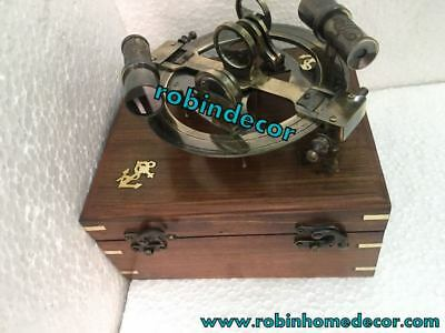 Vintage Antique Marine Sextant Solid Brass Astrolabe Nautical Sextant