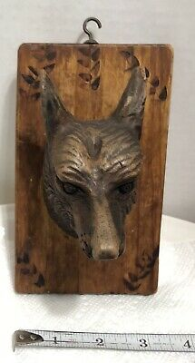 Black Forest Hand Carved Wolf's Head On Plaque
