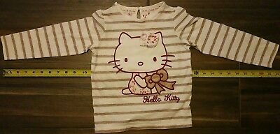Marks & Spencer HELLO KITTY GIRLS Size 4- 5 Striped Long Sleeve Shirt top