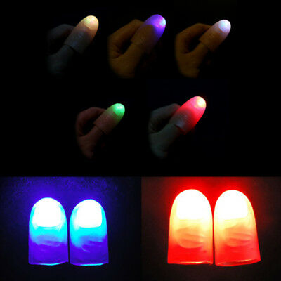 2Pcs party magic light up glow thumbs fingers trick appearing light close upXBUK