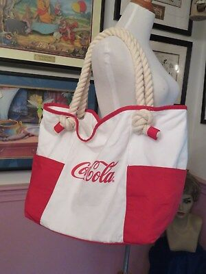 Rare Coca-Cola Large Canvas Tote With Thick Nautical Rope Straps Super Nice!