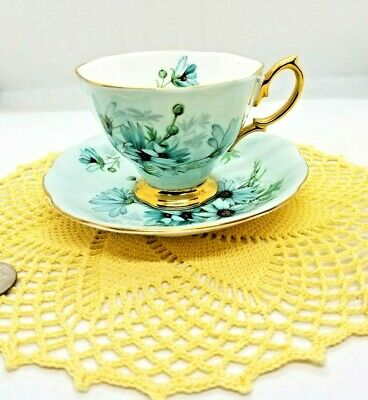 💙Vintage Royal Albert Pale Turquoise Blue Daisy China Tea Cup & Saucer  NR1