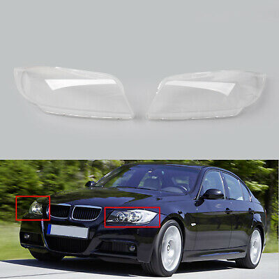 Front Left+Right Headlight Headlamp Lens Covers For BMW 3 Series E90 2006-2012 B