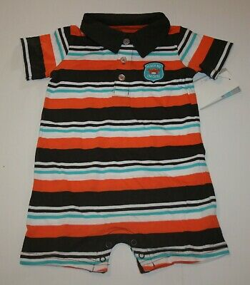New Carter's Boys 6m 1 piece Romper Outfit Polo Handsome Orange Brown Stripes