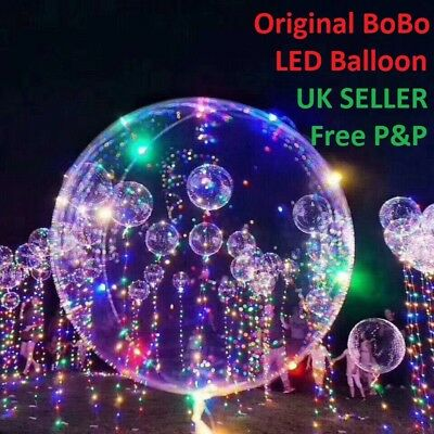 LED Light Up Bobo Balloon Transparent Wedding Birthday Xmas Party Decor Lamp UK^