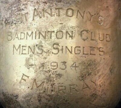 1934 St Anthony's Badminton Vintage silver plate trophy. loving cup, trophies