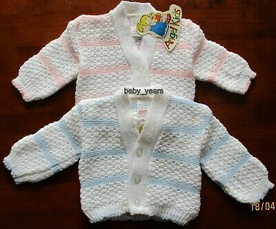 Baby Knitted Cardigan Boys Girls Pink Blue White Stripe 0-3 3-6 Months New