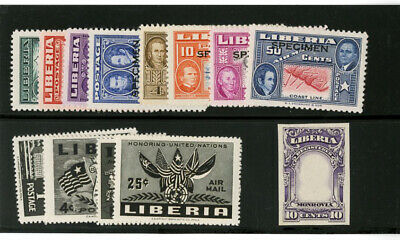 Liberia Mint Proof and Specimen Stamps Group of 13 Scarce