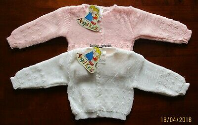 Baby Girls Knitted Long Sleeved Cardigan White Pink 0-3 3-6 6-9 Months New