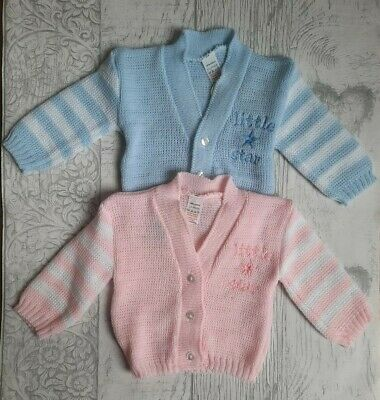 Baby Knitted Cardigan Pink Blue Little Star Boys Girls Long Sleeved 0-3 3-6 6-9M
