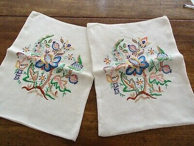 2 Vintage Hand Embroidered Cushion Covers